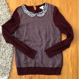 Maroon sweater with bedazzled collar